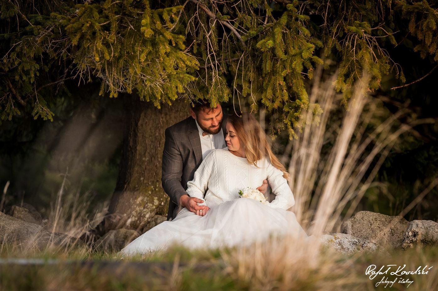 biel sukni ślubnej wyróżnia się na tle zielonych i brązowych odcieni natury