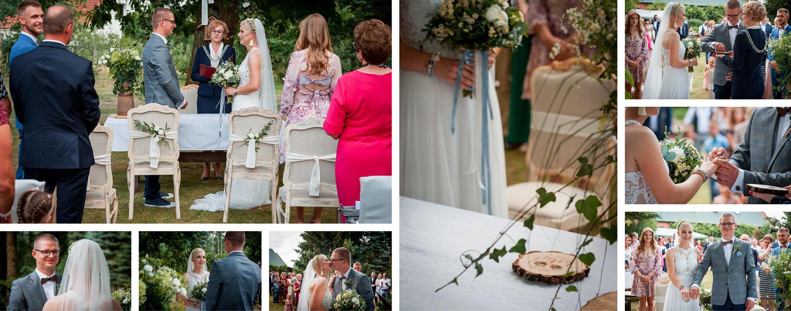 Na ślubie cywilnym w plenerze fotograf śłubny ma ogromne możliwości uwiecznienia wyjątkowych ujęć.