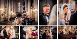 Przysięga małżeńska to najważniejsza chwila podczas ślubu. Fotograf ślubny może opowiedzieć ją sekwencją ujęć pokazując wzruszenie pary młodej, pierszy pocałunek nowożeńców, czy owacje zebraych gości ślubnych i rodziny.