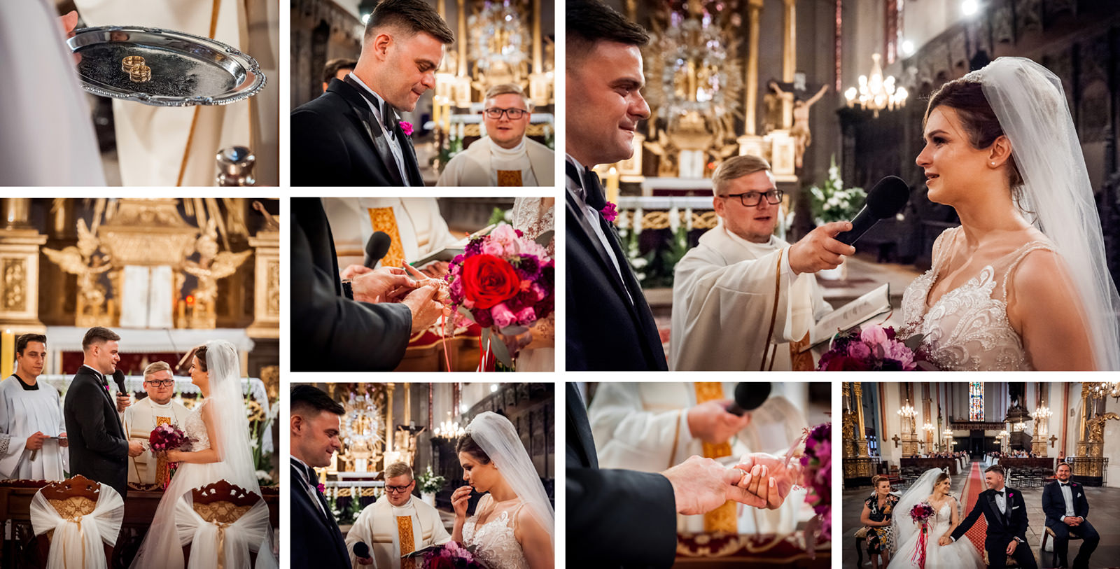 Ważne aby podczas przysięgi małżeńskiej fotograf pokazał zarówno detale obrączek jak i plan ogólny. W reportażu ślubnym powinny znaleźć się zarówno zbliżenia na emocje pary młodej jak i całe sylwetki na tle ołtarza i kapłana udzielającego ślubu.